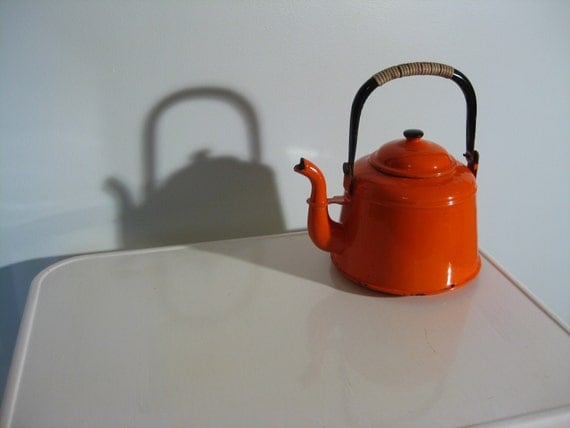 Rustic Orange Enamel Tea Kettle for Display