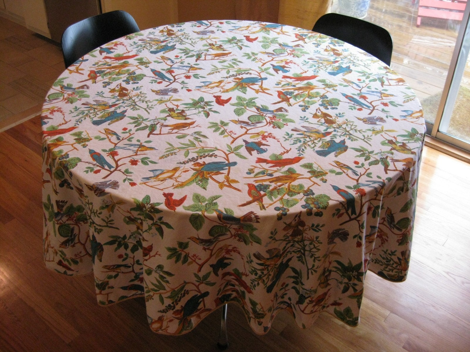 lovely colorful cotton bird tablecloth 87 inches round
