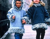 Kids Hooded Pullover Jacket in Polar Fleece with Faux Mongolian Fur Trim