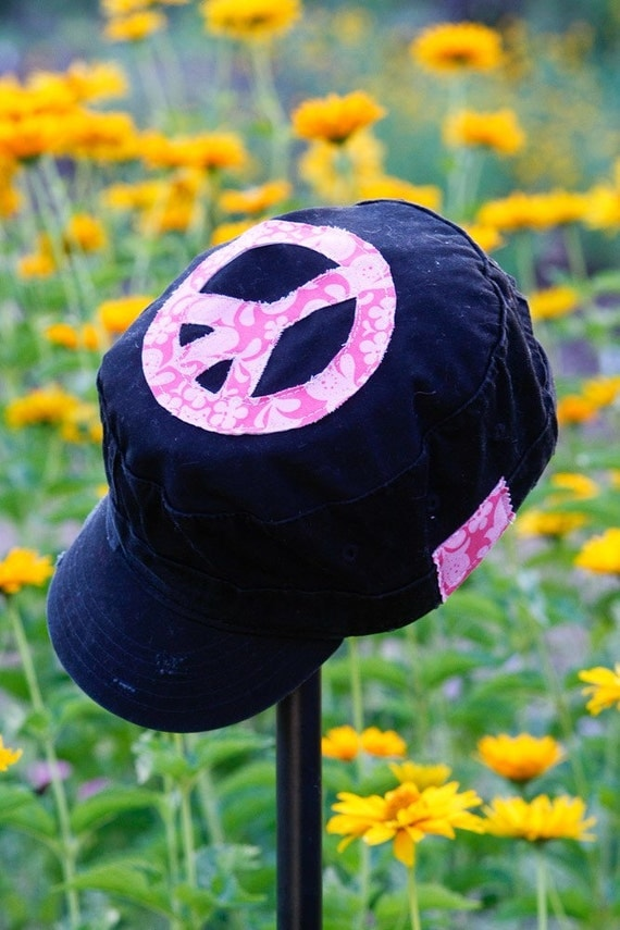 Girls Military Style Black Hat with Pink Floral Print Peace Symbol