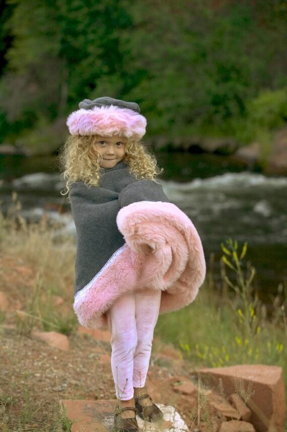 Pink Girls Poncho Faux Fur, Grey Polar Fleece, Pink Faux Fur Trim, Fur Trim Poncho, Faux Fur Coat, Pink Fur Coat, Kid Faux Fur,