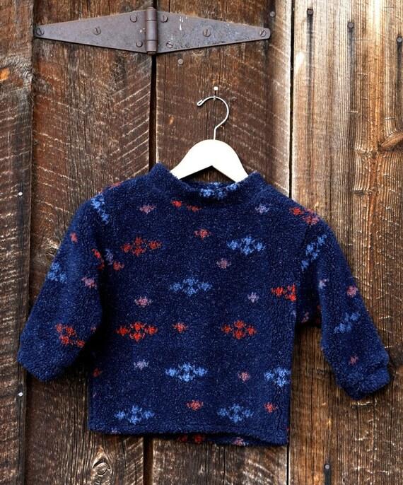 Boys Fleece Pullover Navy Tweed Berber
