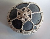 Crochet Covered Stone, Signature Curious Pebble - Custom Color