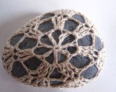 Crochet Covered Stone, Natural Colored Teardrop Shaped Curious Pebble