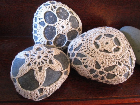 Crochet Covered Stone, SET OF THREE Curious Pebbles in Ecru (set no. 3)