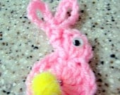 Bunny Rabbit Pin in Pink with Yellow tail