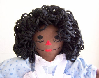 Raggedy Ann Doll - 10 inch - Blue Dress - African American or HIspanic