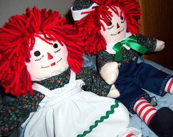 Raggedy Ann & Andy Doll Set - 15 Inches with Personalization