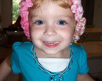Crochet Ruffled Hat - Size 2 - 4 year olds - Pink Handmade