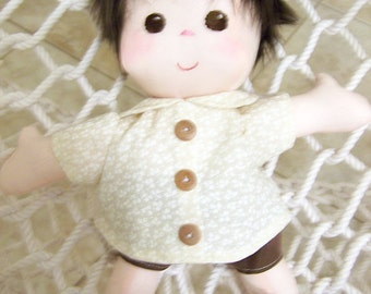 Fabric Doll Handmade -  Adam Doll - 13 inches tall - Boy doll