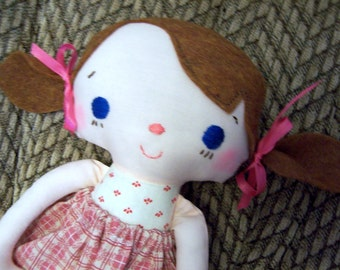 Rag Doll Handmade Blue Eyes, includes Cupcake Flannel PJ's