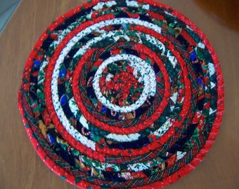 Fabric Coiled Mat, Table Coaster, Trivet, Candle, Hot Pad,11.5 inch mat, trivet, centerpiece, candle, plant mat, doiley