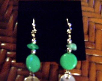 Earrings Turquoise Stone and chip Lever-back Silver Plated, Turquoise Earrings