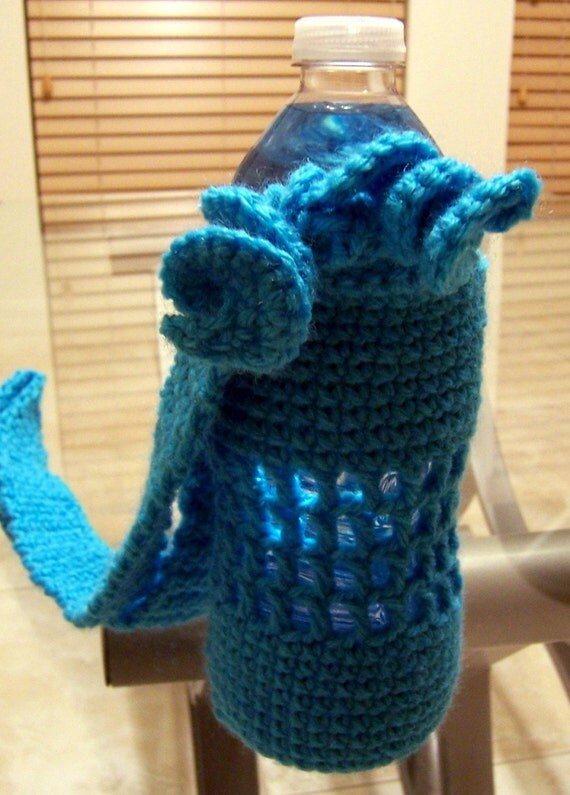 Water Bottle Carrier in Turqoise crochet with curls