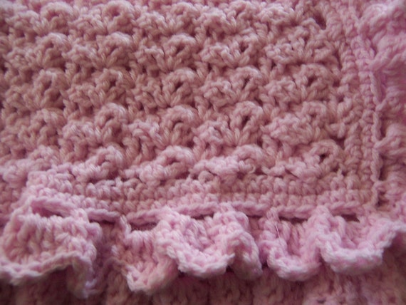 Crocheted Baby Blanket in Soft Pink with Shell Stitch