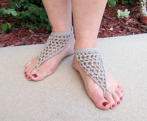 Barefoot Sandals Misty Taupe Crochet Beach Wear Nude Shoes-6929