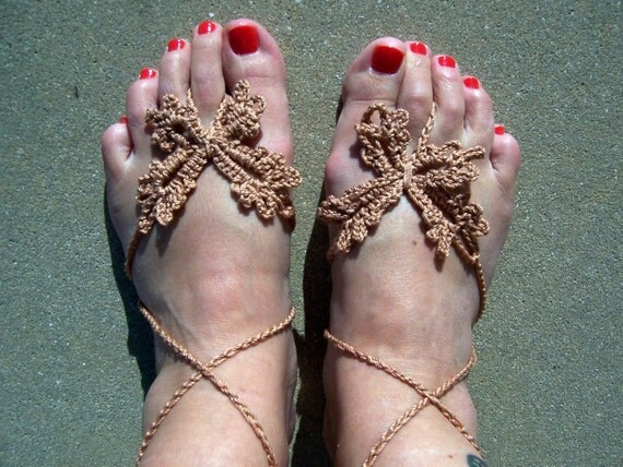Barefoot Sandals  Blush Butterfly Crochet, Beach wear, Nude shoes, Foot jewelry, Wedding, Victorian, Lace, Sexy, Yoga, Pool