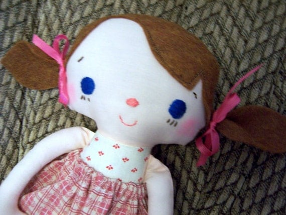 Rag Doll Handmade Blue Eyes, includes Cupcake Flannel PJ's