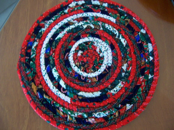 Items similar to Fabric Coiled Mat, Table Coaster, Trivet, Candle, Hot ...
