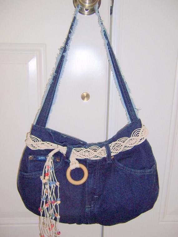 Recycled Jean Purse with Macrame Beaded Belt