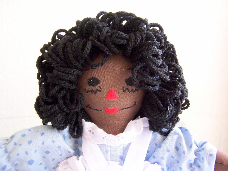 raggedy ann doll 10 inch blue dress african american or