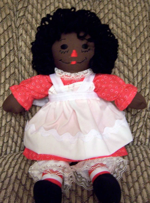 African American Raggedy Ann Doll 13 Inch Peach Dress