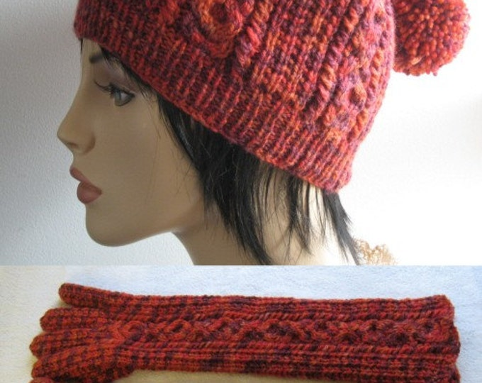 pdf pattern for Cabled Hats and Long Gloves in DK yarn by Elizabeth Lovick - instant download