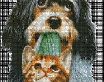 DOG AND CAT cross stitch pattern No.148