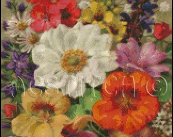 FLOWERS cross stitch pattern No.437