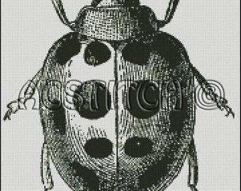 VINTAGE LADYBUG, ephemera, altered, engraving, cross stitch pattern No.379
