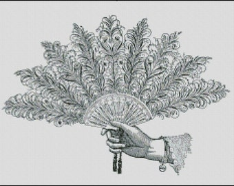 VINTAGE HAND FAN cross stitch pattern No.419