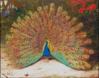PEACOCK AND BUTTERFLY cross stitch pattern No.233