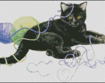 CAT PLAYING cross stitch pattern No.131