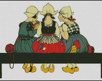 KNITTING GIRLS  cross stitch pattern No.74