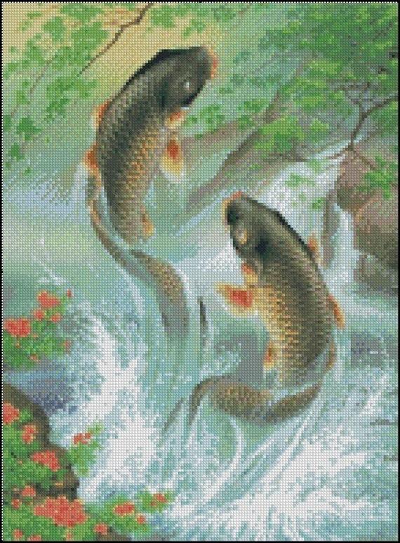 Koi fish cross stitch needlepoint pattern for Koi fish patterns