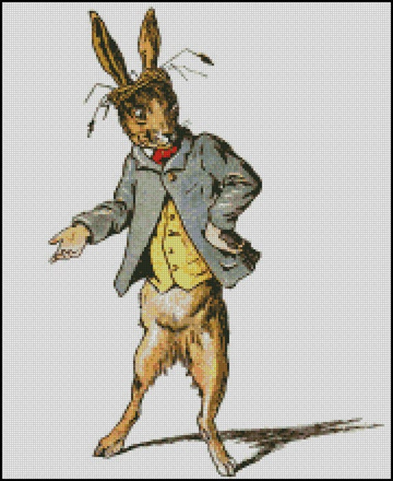 March Hare Alice In Wonderland: THE MARCH HARE Alice In Wonderland Cross Stitch Pattern