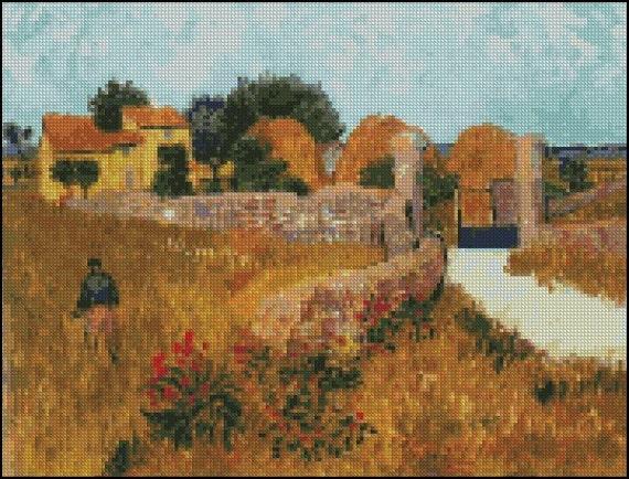 Vincent Van Gogh FARMHOUSE IN PROVINCE cross stitch pattern No.485