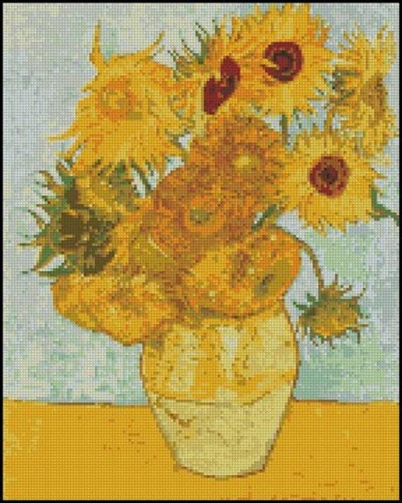 Vincent Van Gogh Sunflowers Cross Stitch Pattern No 480