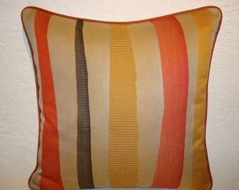 Modern Graphic Striped Pillow - stone, orange, black, yellow
