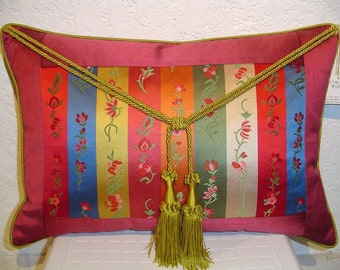 Handmade Sateen Floral Stripe Pillow with Tassel Rope