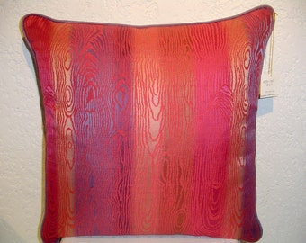 Handmade Designer Pillow with Fuchsia Periwinkle Moire Pattern and Cording