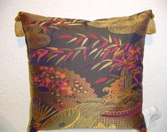 Vintage Bergamo Oriental Scenic Jacquard Pillow with Tassels