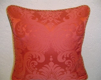 Silk Damask Pillow with Striped Cording
