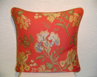 Coral Floral Jacquard Pillow with Cording
