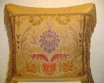 Hearst Castle Collection Piecework Pillow with Large Inset Damask & Fringe