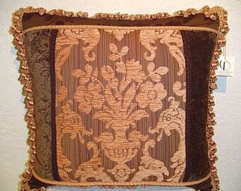 Handmade Lee Jofa Brown Pillow with Damask Chenille and Tassel Fringe