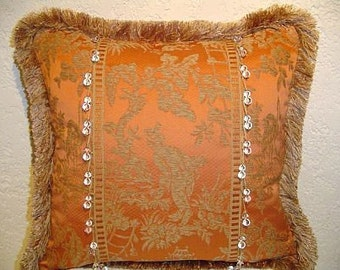 Decorative Pillow with Salmon Lee Jofa Chinoiserie and Larry Laslo Glass Bead Trim