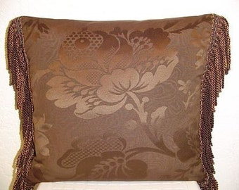 Decorative Pillow with Chocolate Brown Large Damask and Bullion Fringe