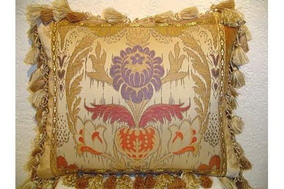 Handmade Piecework Pillow with Large Scale Damask and Tassel Fringe