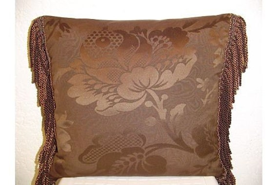 Large Brown Decorative Pillows : Decorative Pillow with Chocolate Brown Large Damask and